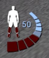 Statusanzeige 50 Prozent, blutend